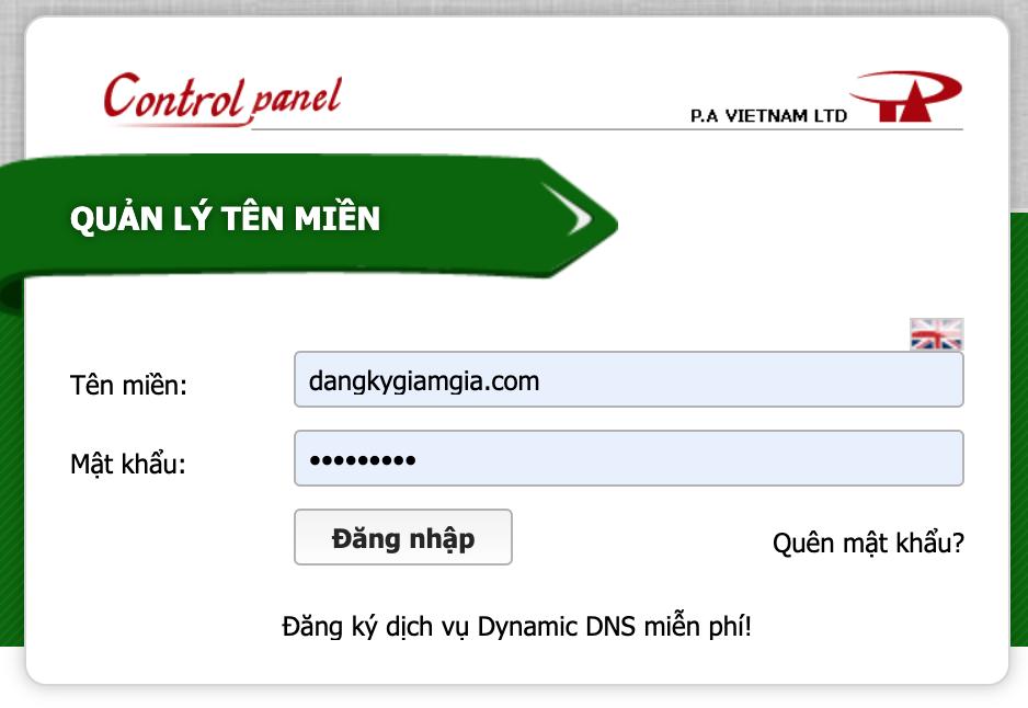 đăng nhập quản lý tên miền